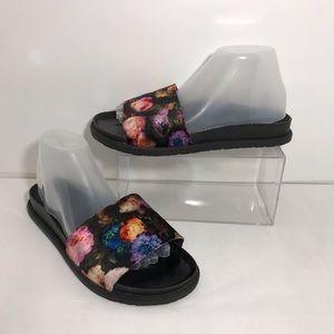 Topshop Floral Black Slides Sz 8.5 US 6 UK 39 ITA